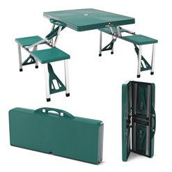 Stolík kufríkový campingový plast zelený