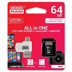 Karta Micro SD+adaptér 64GB class10 GOODRAM M1A4
