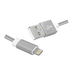 Kábel USBA-IPHONE 5< stieborný 1m PROFI LX8447
